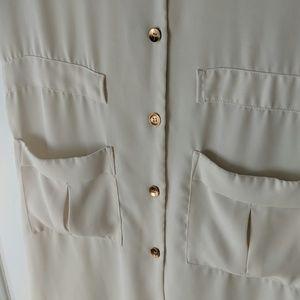 Zara Dresses - Zara Basic White Button Down Midi Rose Gold Accent